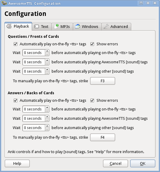 Playback Configuration — AwesomeTTS for Anki