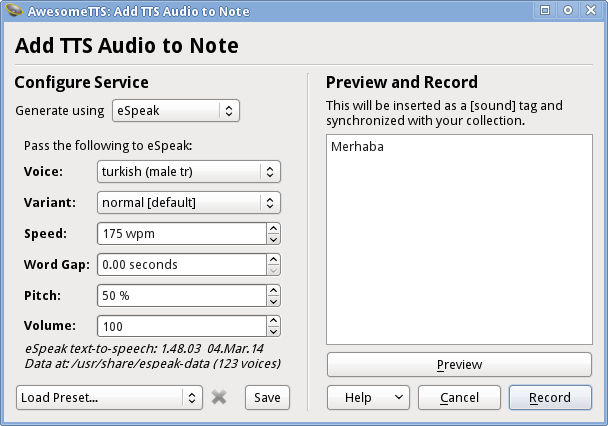 AwesomeTTS note editor dialog with the eSpeak service activated