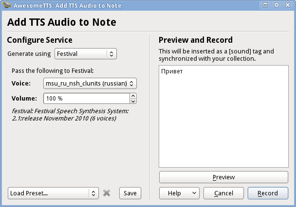AwesomeTTS note editor dialog with the Festival service activated
