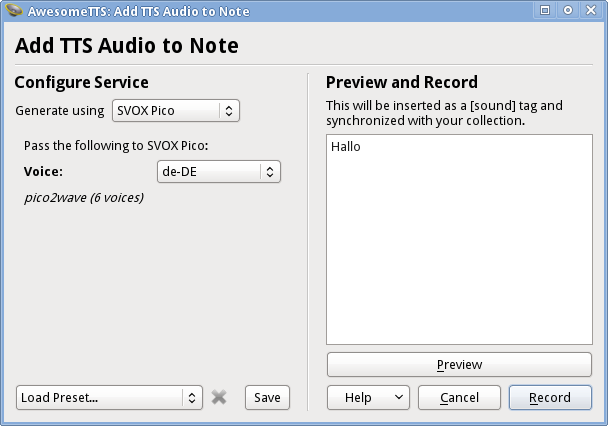 AwesomeTTS note editor dialog w/ the SVOX Pico service activated