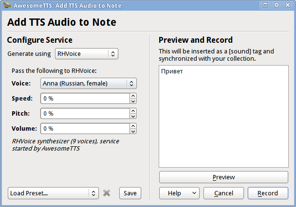 AwesomeTTS note editor dialog with the RHVoice service activated