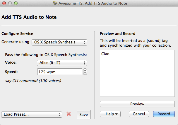 AwesomeTTS note editor dialog with the OS X Say service activated