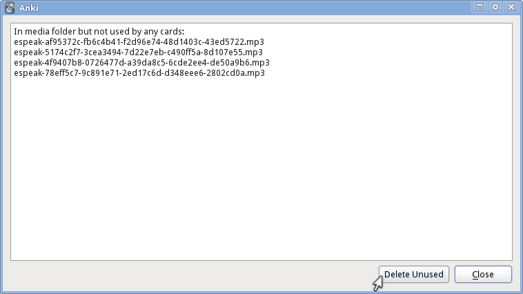 Anki dialog showing disused media files